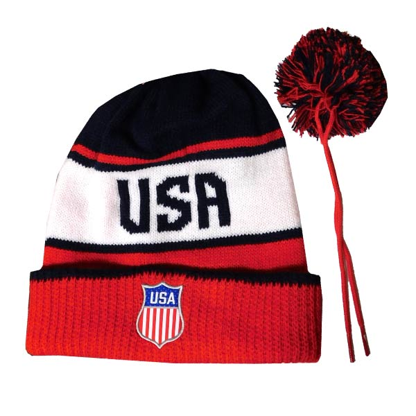 4868f069a23 NIKE Olympic Script Team USA Pom Beanie- Yth